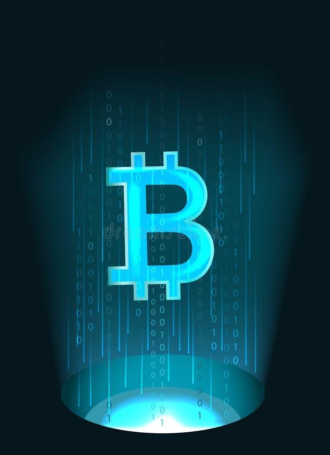 Símbolo de Bitcoin e código binário ilustração stock