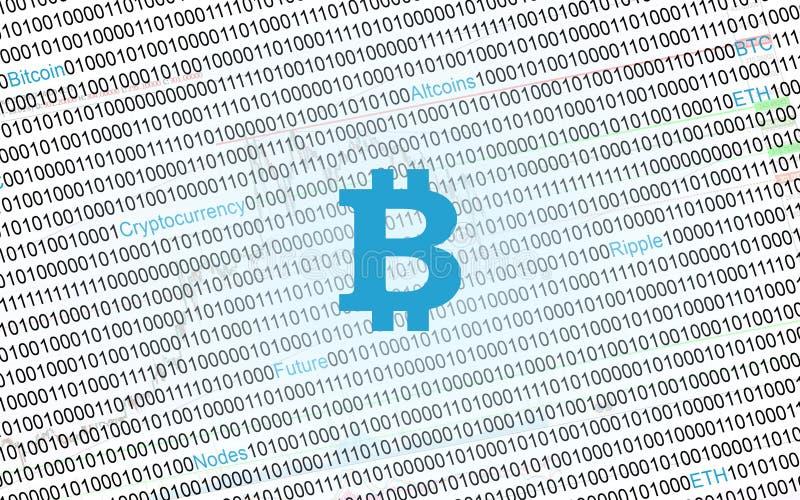 Símbolo de Bitcoin en fondo digital del código binario fotos de archivo