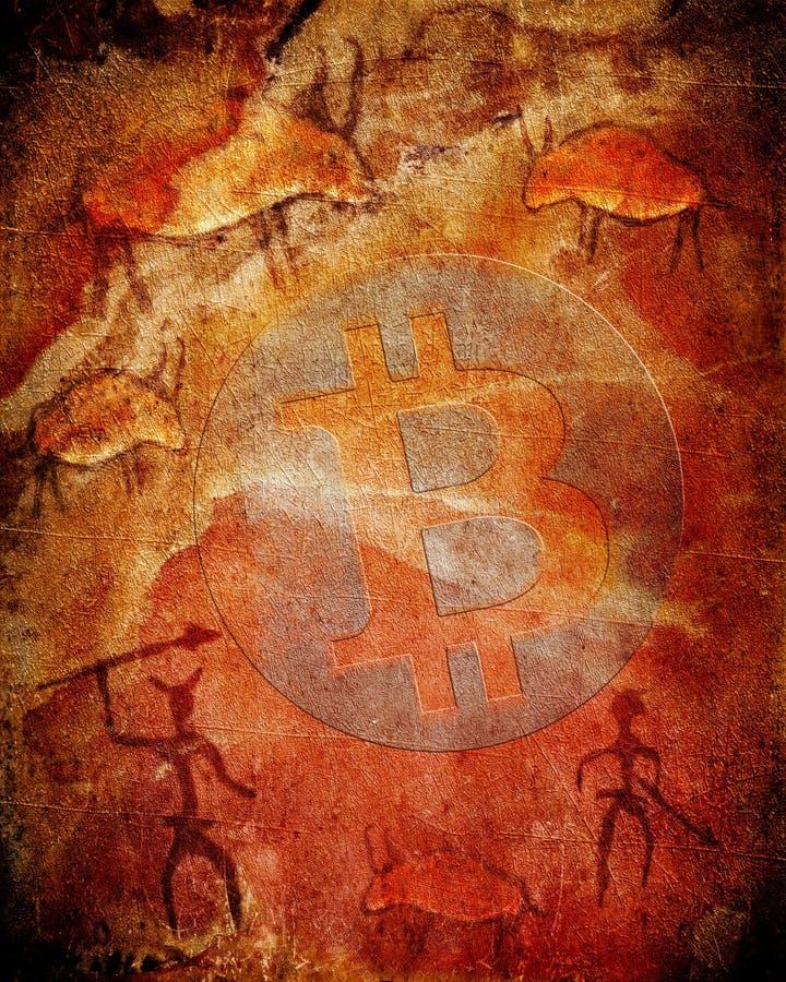Símbolo de Bitcoin en fondo prehistórico con los animales y los cazadores ilustración del vector