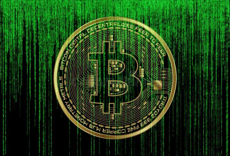 Símbolo de Bitcoin no fundo verde futurista da matriz Número de código binário digital do sinal do cryptocurrency de BTC Dados gr ilustração royalty free
