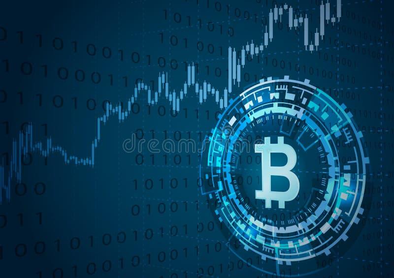 Símbolo de Bitcoin y carta del precio stock de ilustración