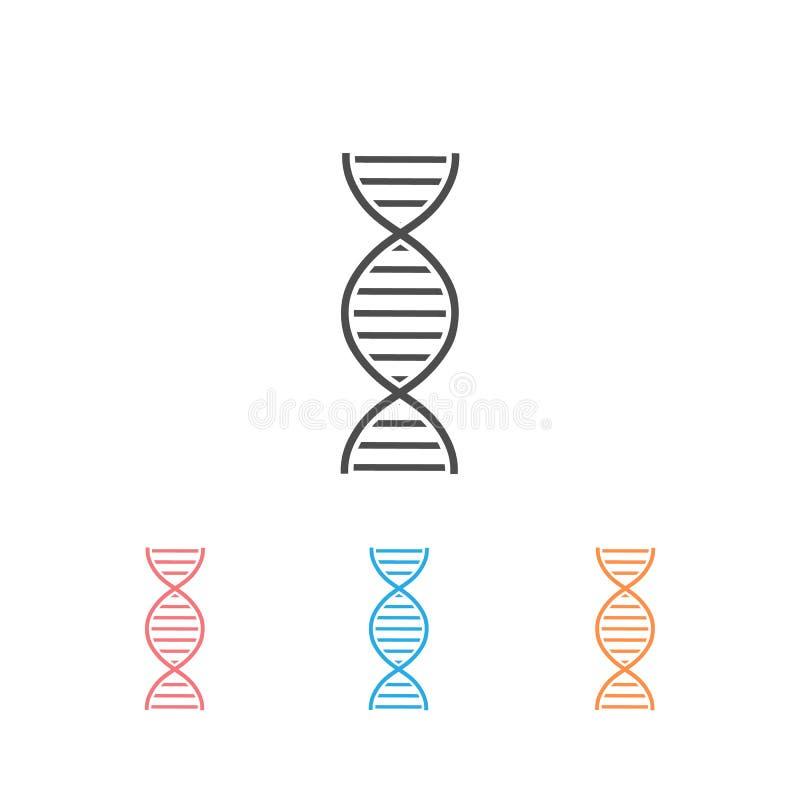 Símbolo de cadena abstracta de ADN o cromosoma Conjunto de iconos Vector ilustración del vector