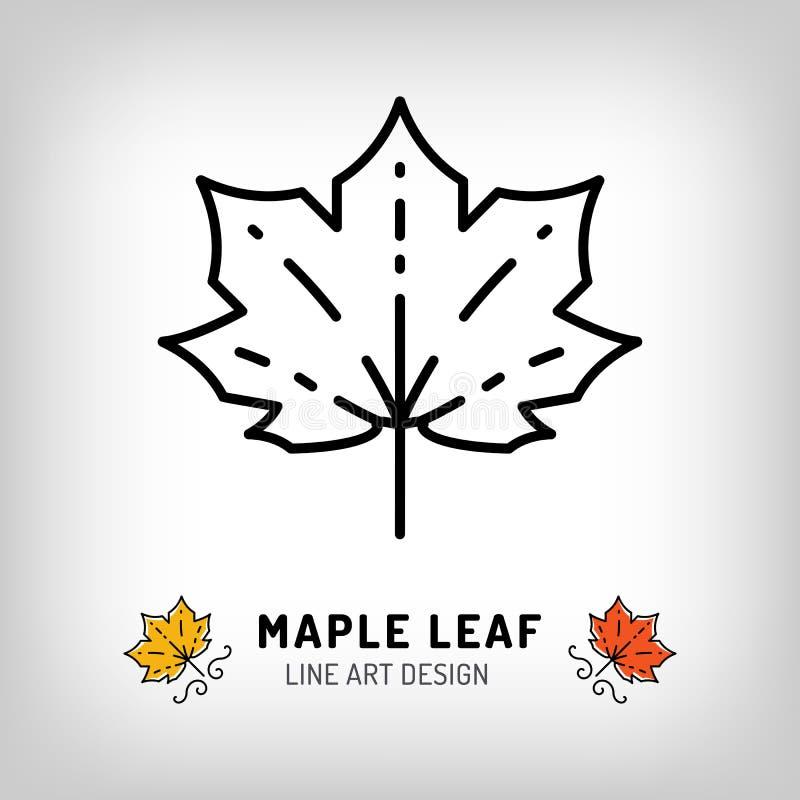 Símbolo de Canadá de las hojas de otoño del icono de la hoja de arce del vector Línea diseño ilustración del vector