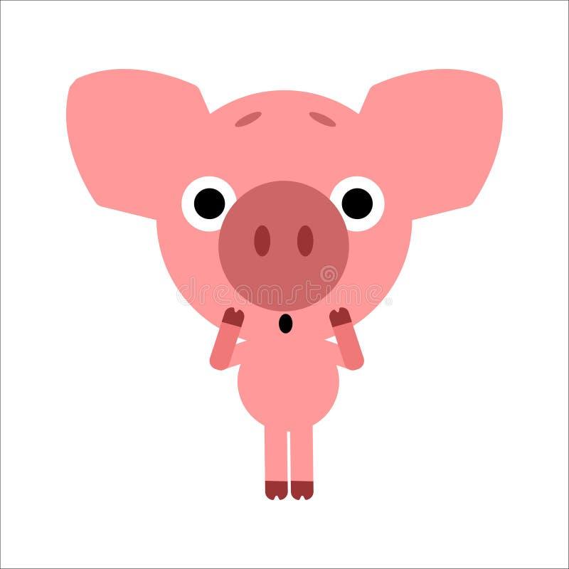 Símbolo de 2019 Cerdo lindo del vector Guarro consigue asustado Fondo blanco Diseño plano Vector libre illustration