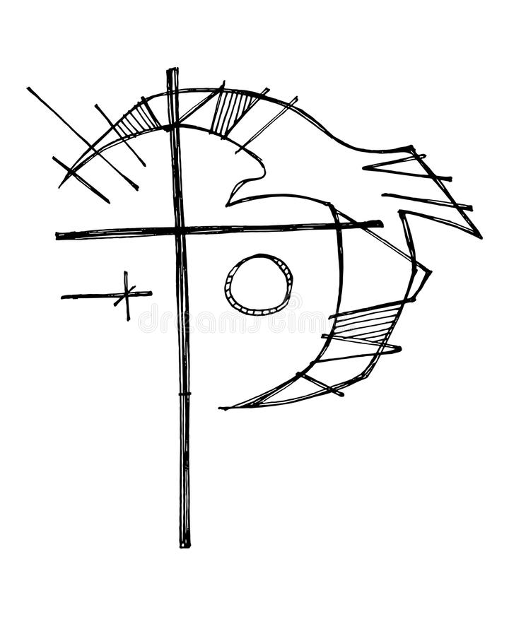 Símbolo de Christian Cross e da pomba ilustração royalty free