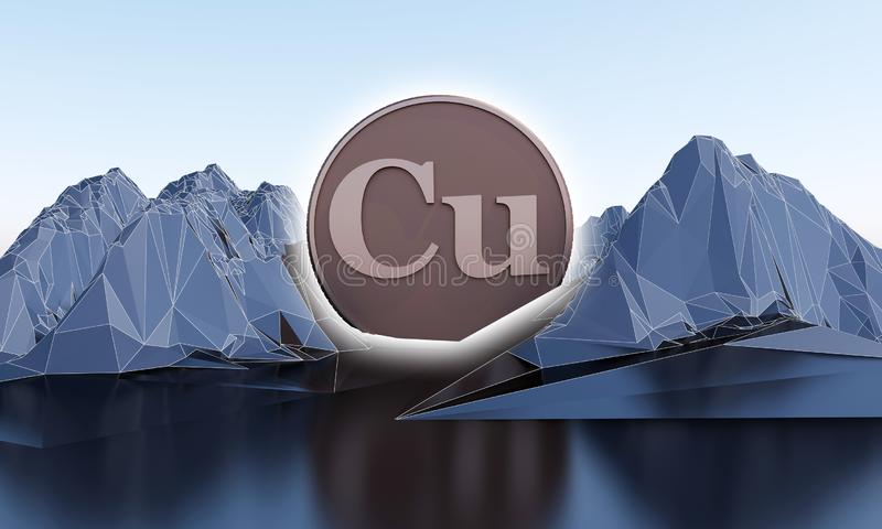 Símbolo de cobre na forma da moeda em montanhas abstratas ilustração stock