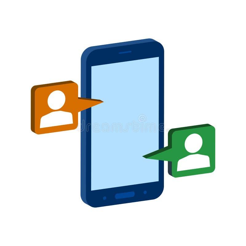 Símbolo de conversa móvel Ícone ou logotipo isométrico liso pi do estilo 3D ilustração royalty free