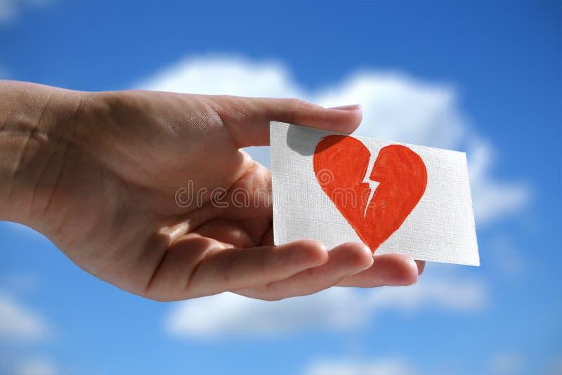 Símbolo de coração quebrado imagens de stock