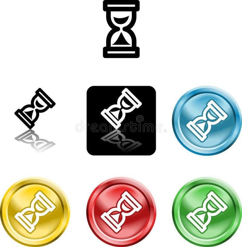 Símbolo de cristal del icono de la hora ilustración del vector