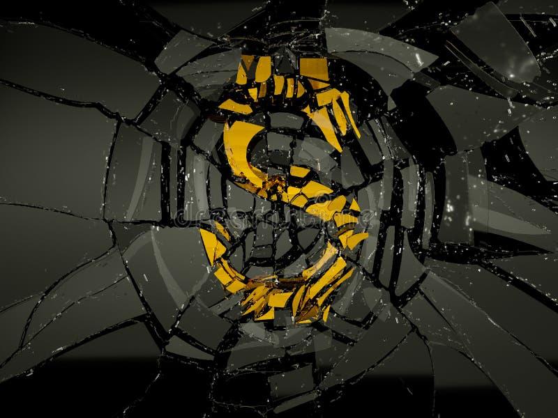 Símbolo de cristal y de oro del dólar de EE. UU. roto ilustración del vector