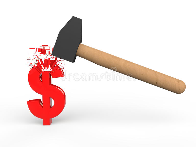 símbolo de destruição do dólar do martelo 3d ilustração royalty free