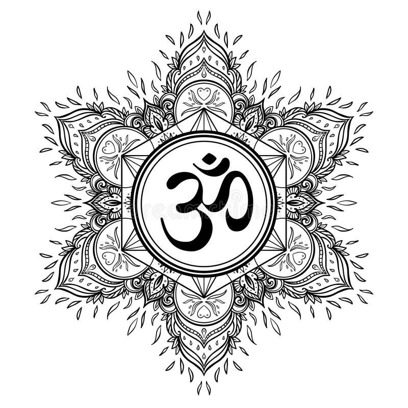 Símbolo de Diwali OM com mandala Teste padrão redondo Estilo dezembro do vintage ilustração do vetor