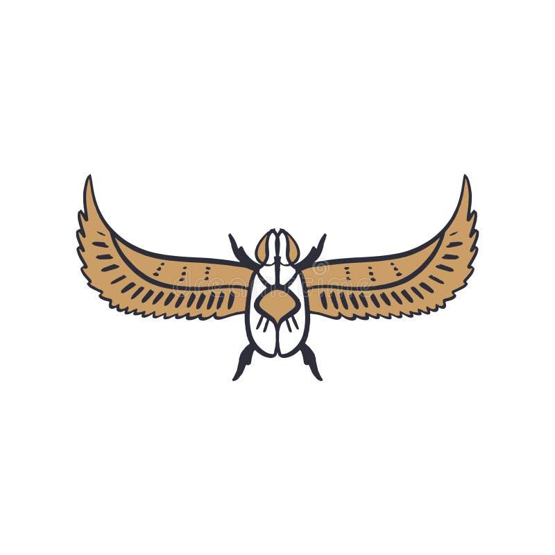 Símbolo de Egito antigo, ícone do besouro Elemento, imagem do esboço, linha inseto da arte Tatuagem instantânea do teste padrão ilustração royalty free