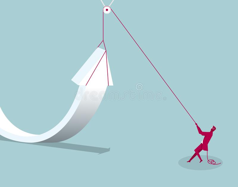 Símbolo de elevación de la flecha del hombre de negocios usando una polea ilustración del vector
