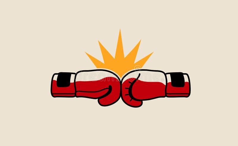 Símbolo de encajonamiento Logo Design Illustration de la lucha stock de ilustración
