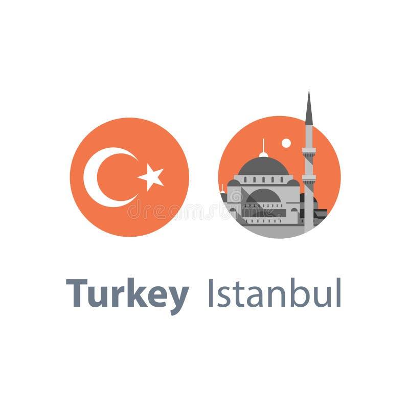 Símbolo de Estambul, Sultan Ahmed Mosque o mezquita azul, señal famosa, destino del viaje de Turquía, cultura y arquitectura libre illustration