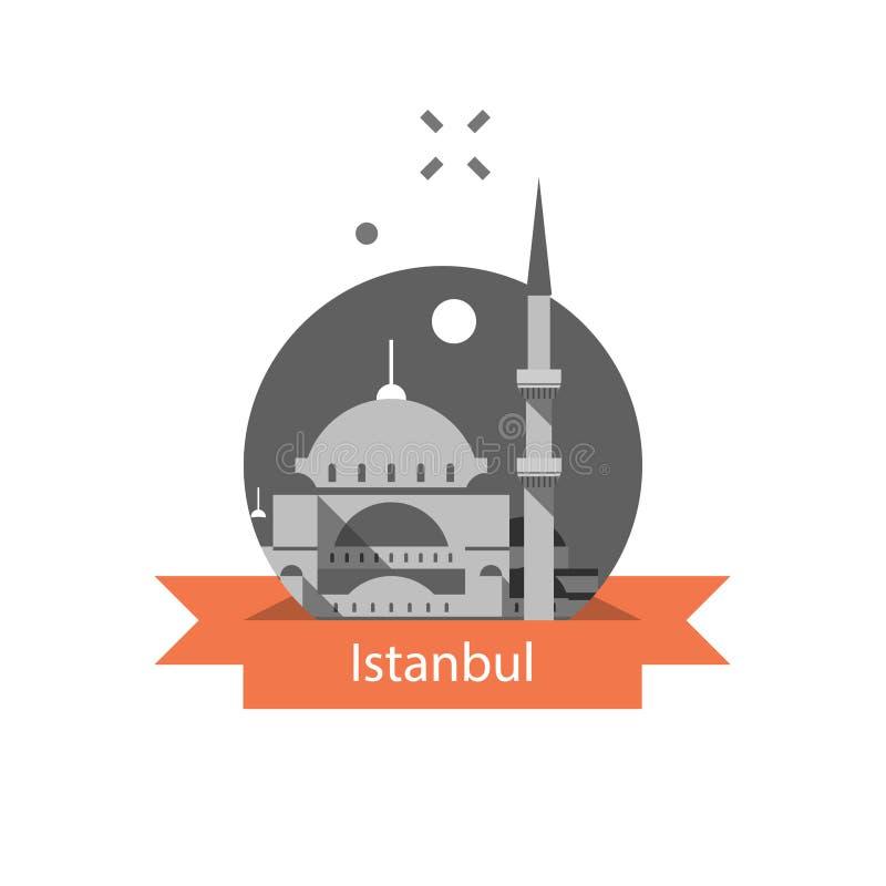 Símbolo de Estambul, Sultan Ahmed Mosque o mezquita azul, señal famosa, destino del viaje de Turquía, cultura y arquitectura ilustración del vector