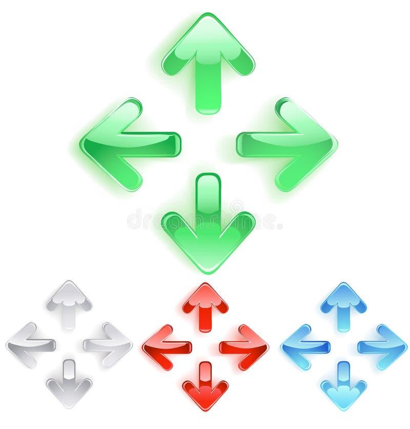 Símbolo de flechas del vidrio liso ilustración del vector