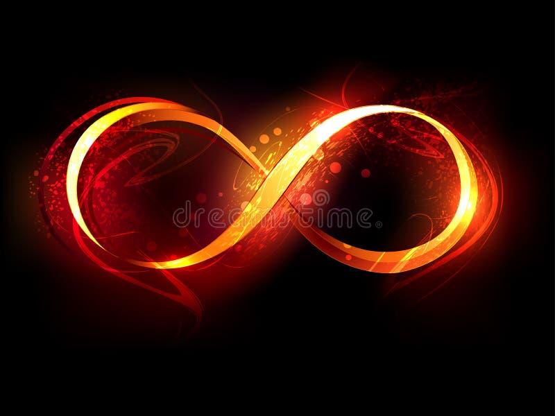 Símbolo de fuego del infinito en fondo negro stock de ilustración