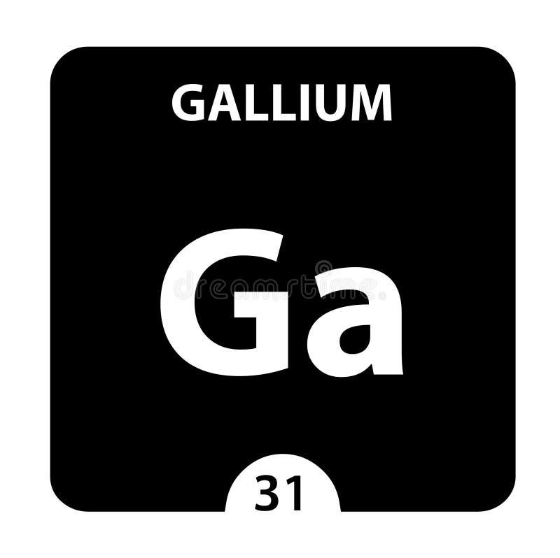 Símbolo de gallio Signo Gallium con número atómico y peso atómico Elemento Ga Chemical de la tabla periódica en blanco brillante stock de ilustración
