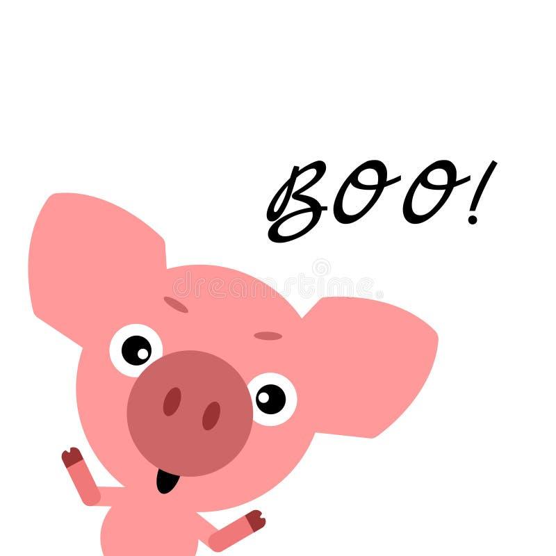 Símbolo de 2019 Halloween feliz Porco bonito do vetor Caráter engraçado assustador colorido dos desenhos animados Mãos acima Fund ilustração do vetor