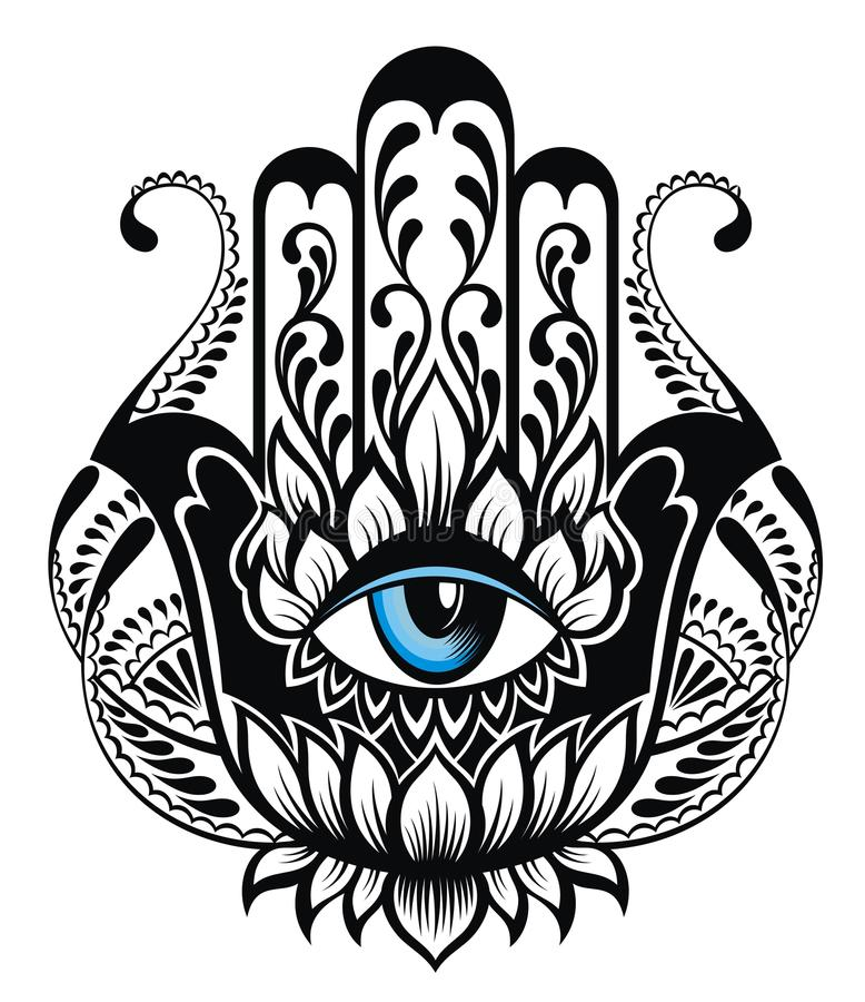 Símbolo de Hamsa Mano de Fátima Tatuaje Design ilustración del vector