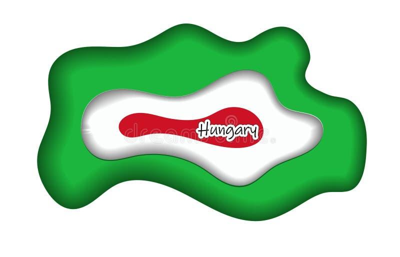 Símbolo de Hungria, cartaz, bandeira Mapa de Hungria com a decoração da bandeira nacional O emblema de Hungria com o nacional ilustração stock