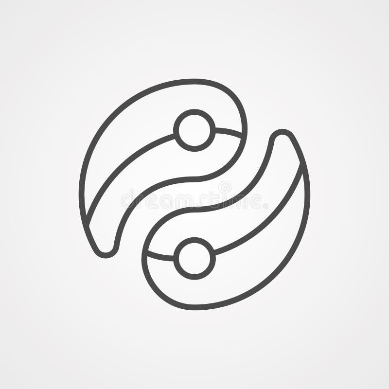 Símbolo de icono de Ying yang ilustración del vector