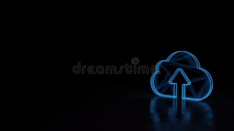 símbolo de incandescência do wireframe 3d do símbolo da transferência de arquivo pela rede a nublar-se isolado no fundo preto ilustração royalty free