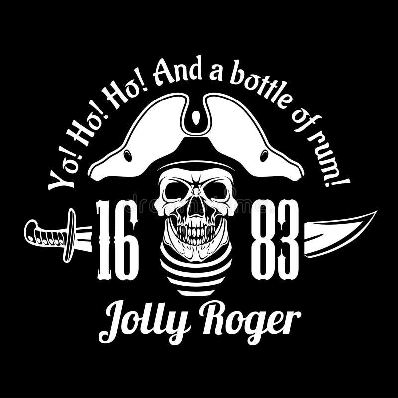 Símbolo de Jolly Roger dos piratas Vector o cartaz do crânio com o remendo do olho do pirata, os ossos e espadas cruzadas ou sabr ilustração stock