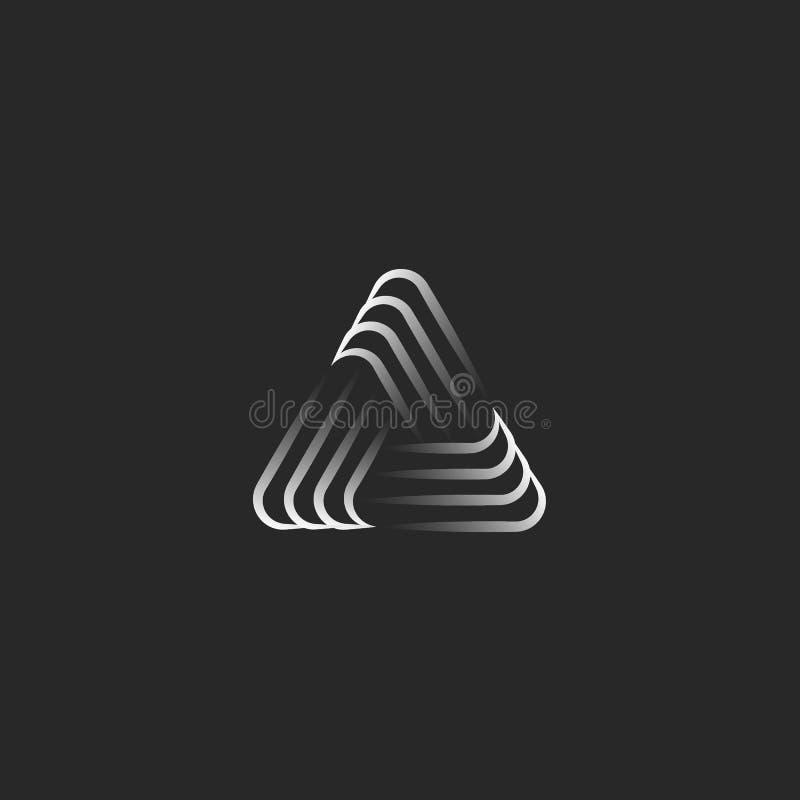 Símbolo de la alianza del logotipo del triángulo, forma geométrica del infinito, líneas finas traslapadas blancos y negros fo stock de ilustración