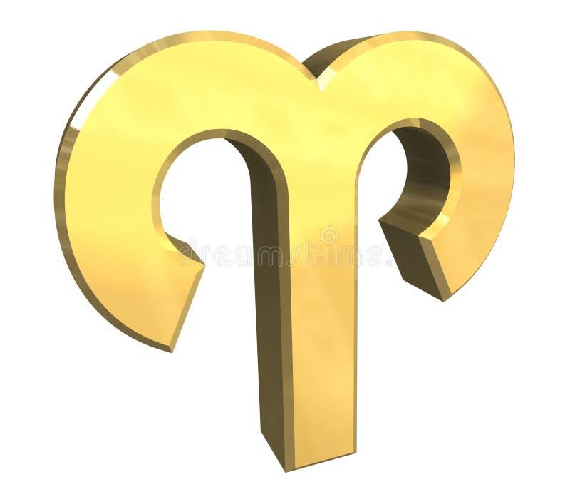 Símbolo de la astrología del aries en el oro (3d) ilustración del vector