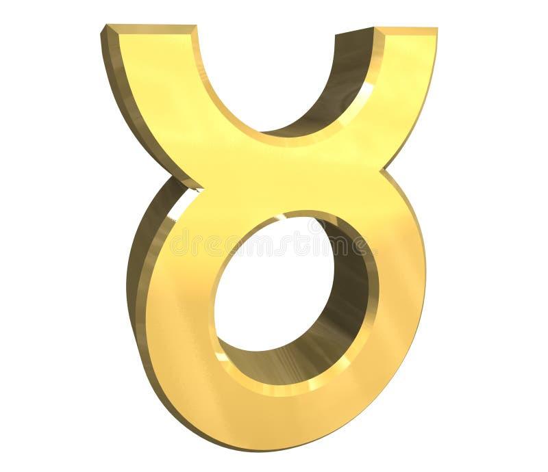 Símbolo de la astrología del tauro en el oro (3d) ilustración del vector