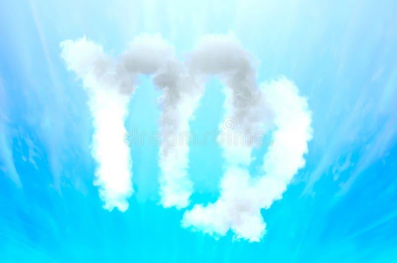Símbolo de la astrología en el material de la nube - virgo imagen de archivo libre de regalías