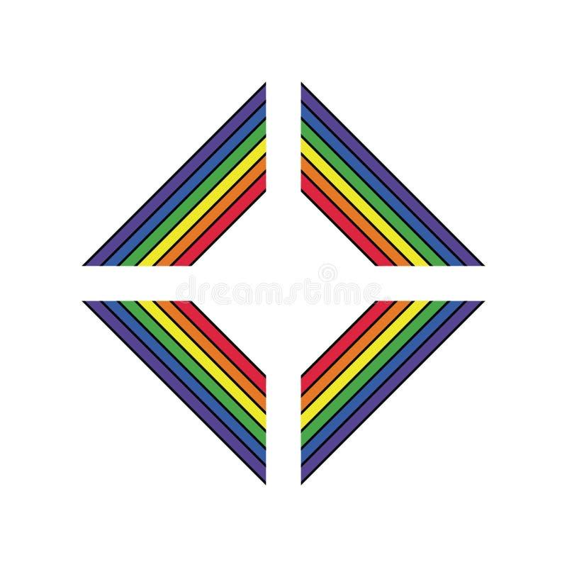 Símbolo de la ayuda de LGBT en colores del arco iris con las letras Iconos, plantilla del logotipo Elemento elegante del diseño d ilustración del vector