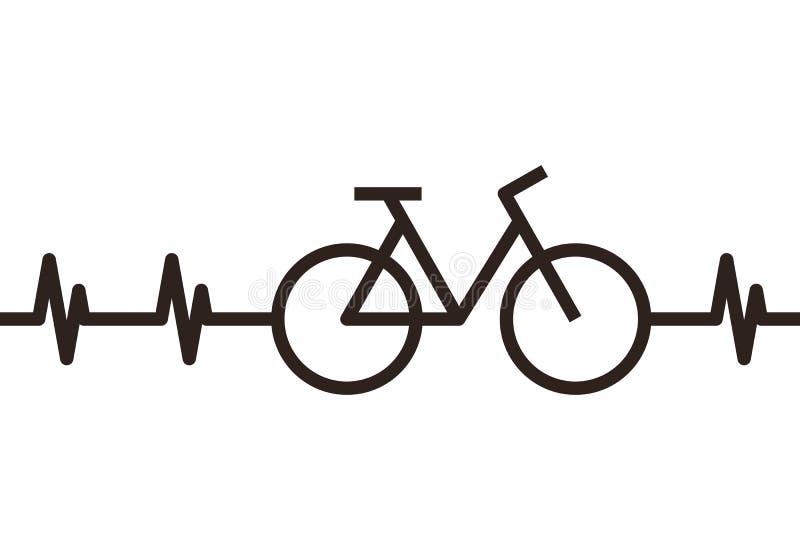 Símbolo de la bici del latido del corazón ilustración del vector