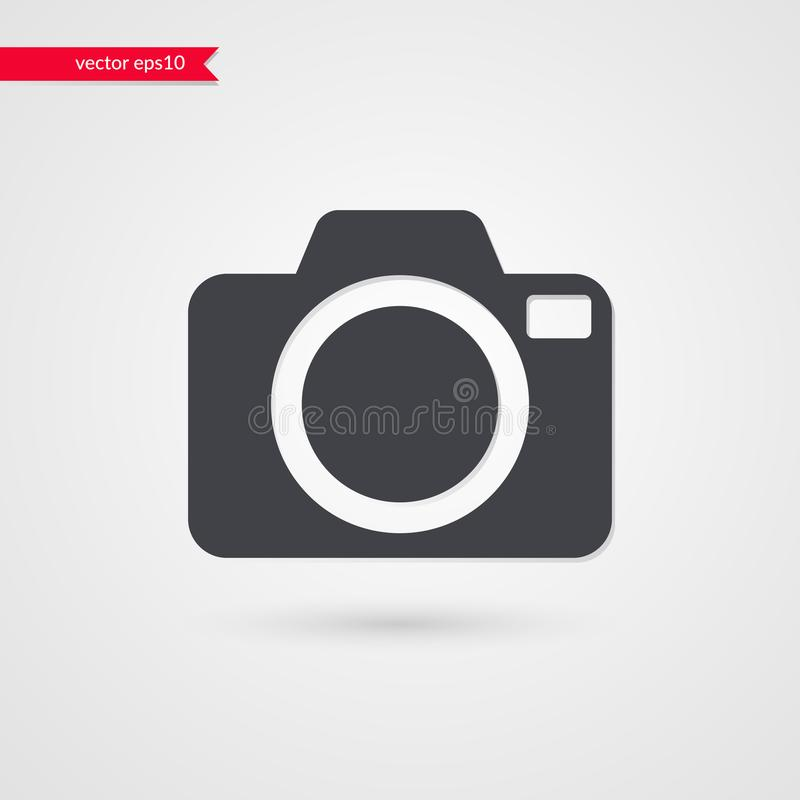 Símbolo de la cámara del vector Muestra gris infographic aislada Ejemplo del icono para el diseño web, fotografía, artículo, noti ilustración del vector