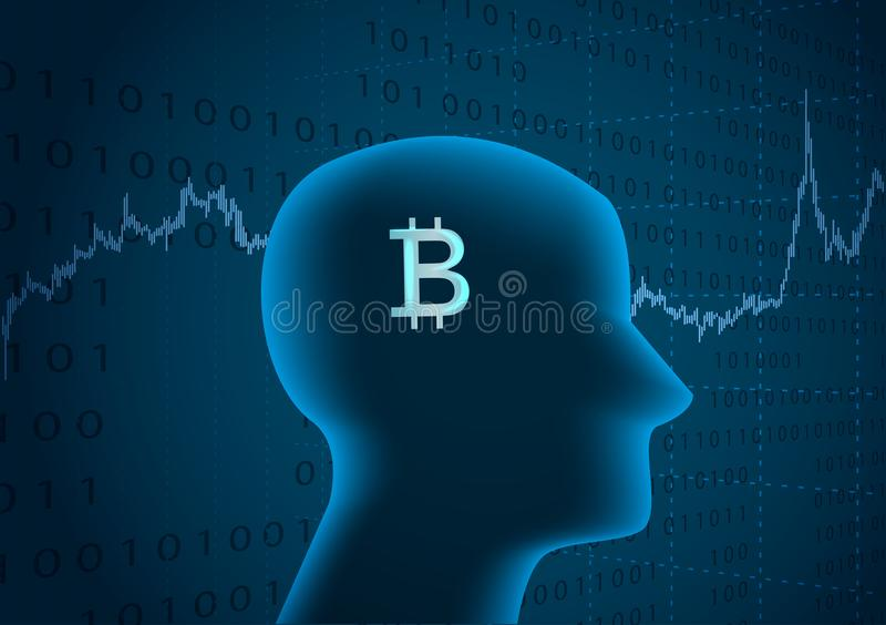 Símbolo de la cabeza humana y del bitcoin ilustración del vector