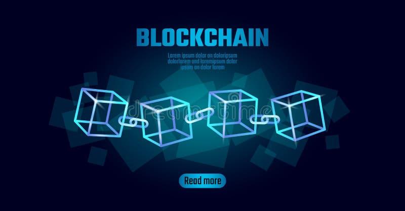 Símbolo de la cadena del cubo de Blockchain en la información grande del flujo de datos del código cuadrado Tendencia moderna que ilustración del vector