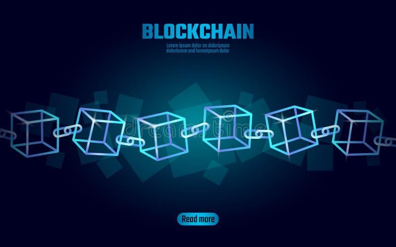 Símbolo de la cadena del cubo de Blockchain en la información grande del flujo de datos del código cuadrado Tendencia moderna que libre illustration