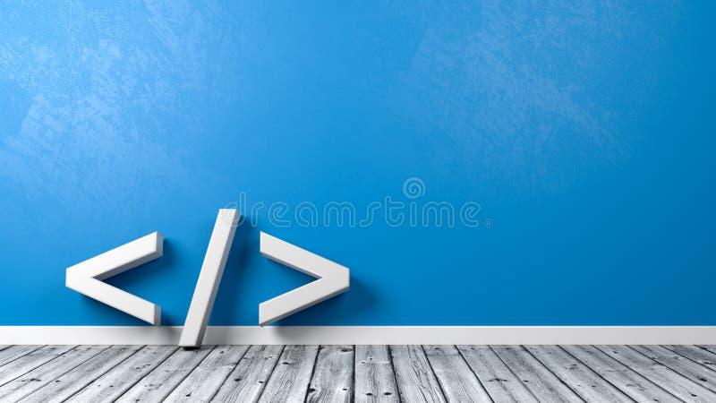 Símbolo de la codificación en el cuarto con Copyspace ilustración del vector