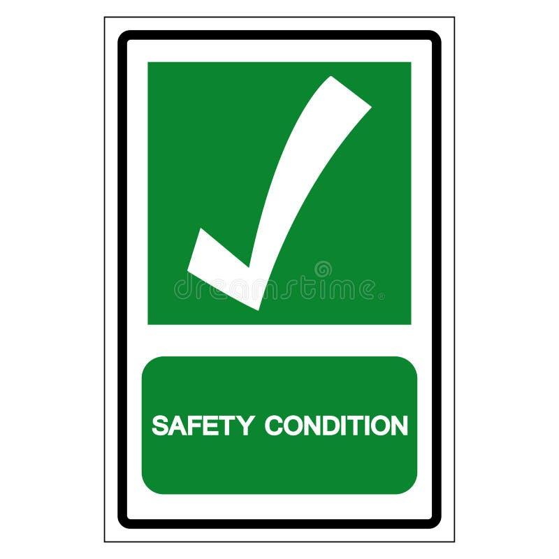 Símbolo de la condición de la seguridad, ejemplo del vector, aislante en la etiqueta blanca del fondo EPS10 ilustración del vector