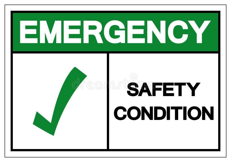 Símbolo de la condición de la seguridad de la emergencia, ejemplo del vector, aislante en la etiqueta blanca del fondo EPS10 stock de ilustración