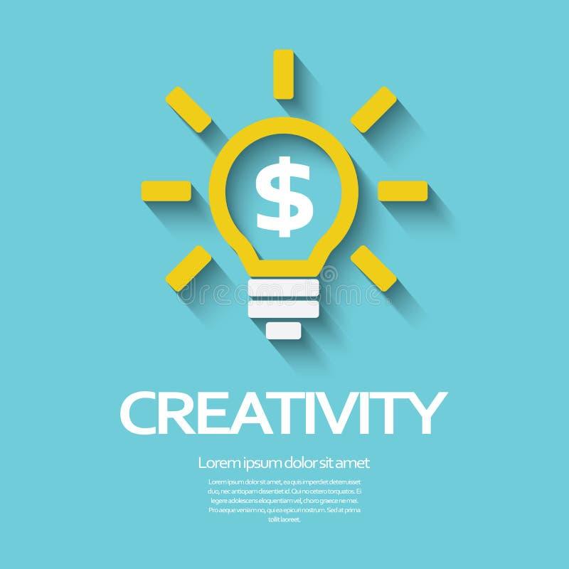 Símbolo de la creatividad con la bombilla y la muestra de dólar ilustración del vector