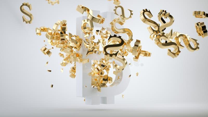 Símbolo de la devaluación de Bitcoin y dólar de oro roto libre illustration