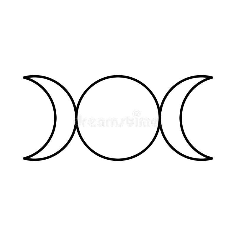 Símbolo de la diosa, fases de la luna, doncella, madre y vieja arrugada triples Mitología, wicca, brujería Ilustraci?n del vector stock de ilustración