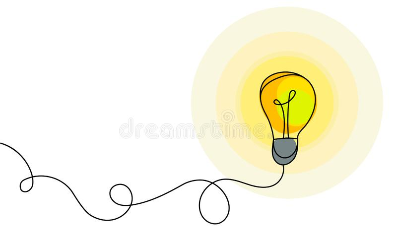 Símbolo de la energía y de la idea, bombilla stock de ilustración