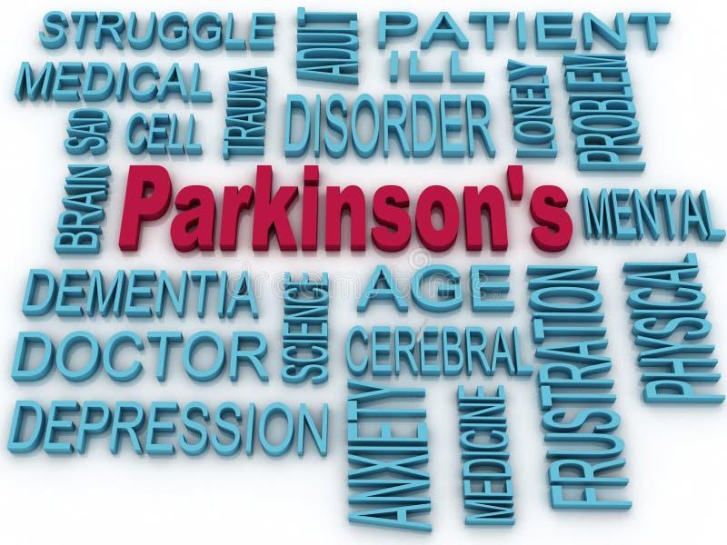 símbolo de la enfermedad de 3d Parkinson aislado en blanco Salud mental s ilustración del vector