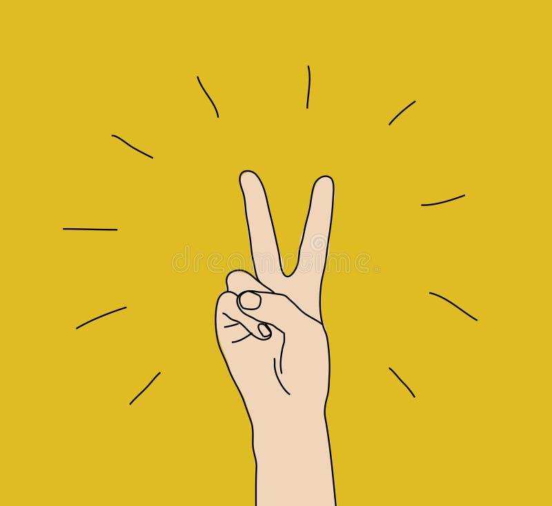 Símbolo de la expresión del triunfo de la muestra del gesto de la victoria de la mano stock de ilustración