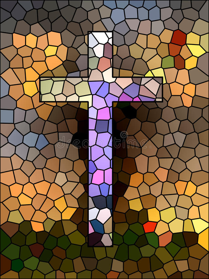 Símbolo de la fe. Cruz del vitral. ilustración del vector